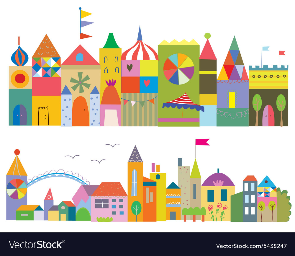 Houses funny banner  fairytale town vector