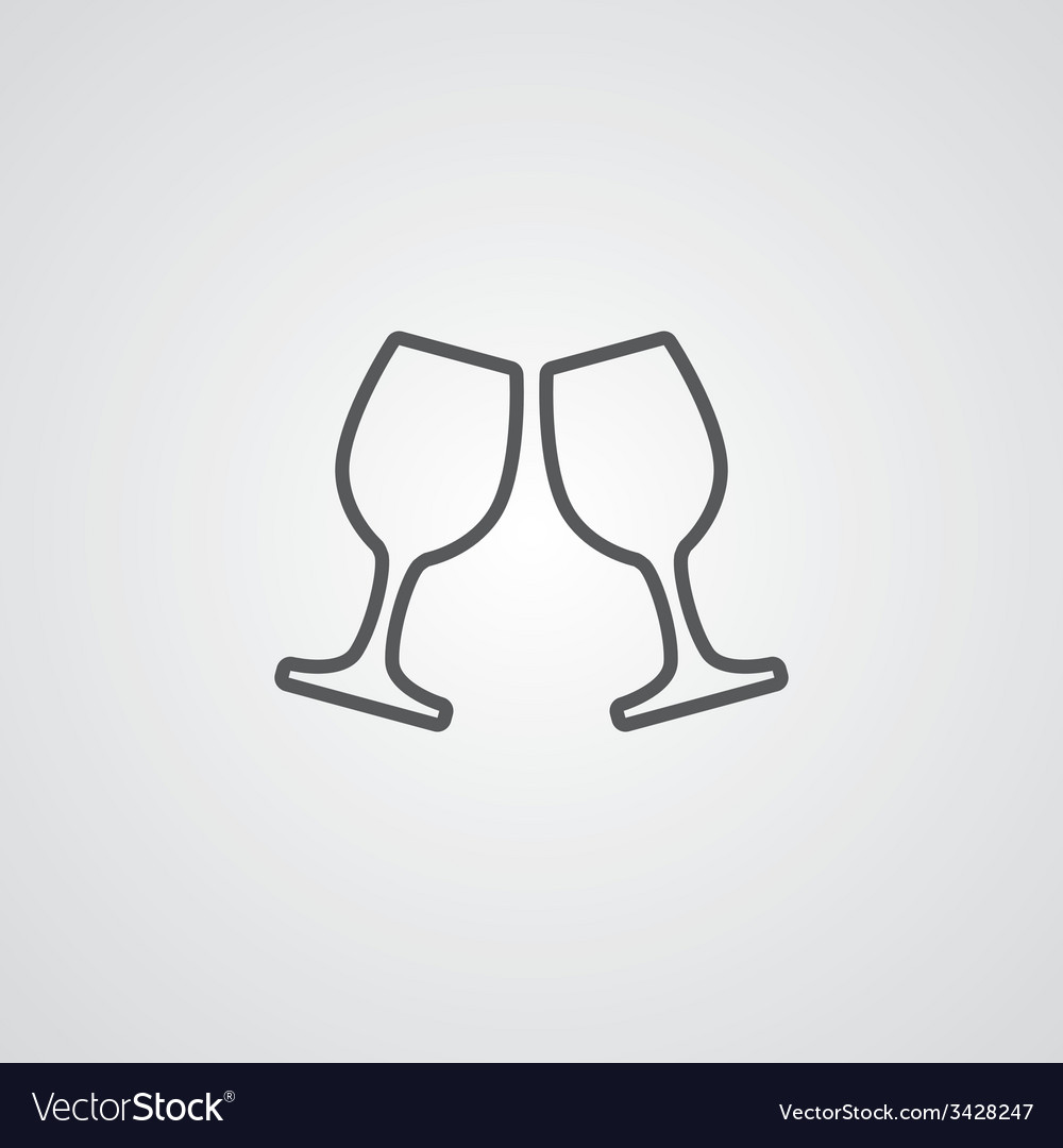 Wineglasses outline symbol dark on white vector