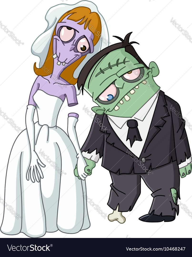 Zombie wedding vector