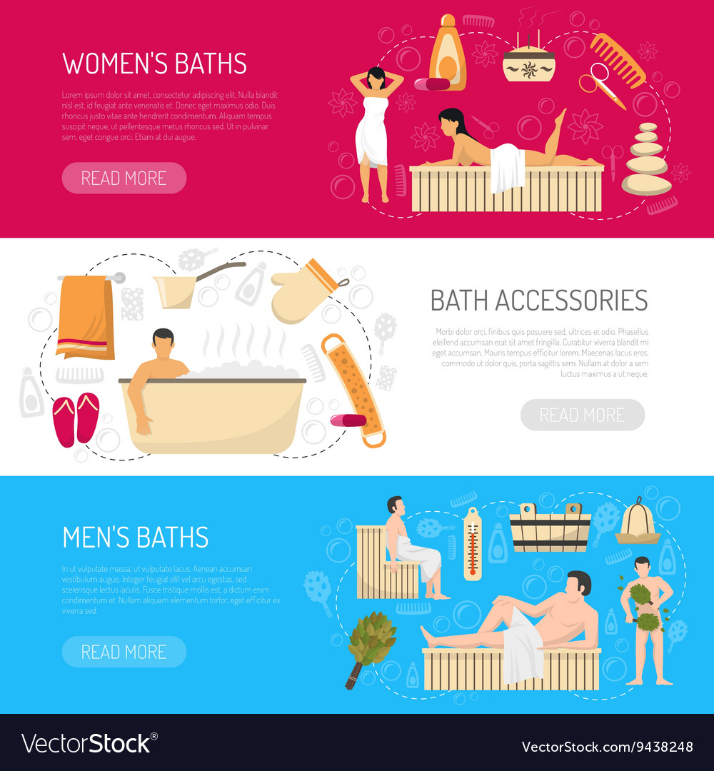 Bath sauna spa horizontal banners set vector