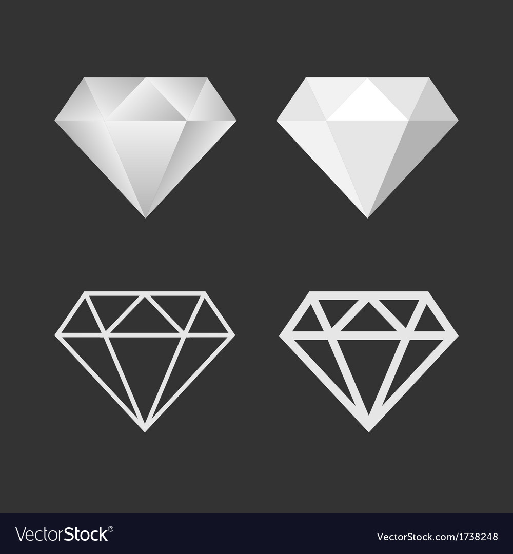 Diamond icon and emblem set vector