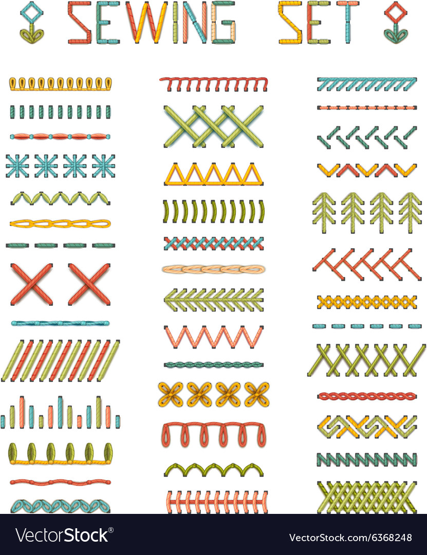 Set of high detailed stitches and seams vector