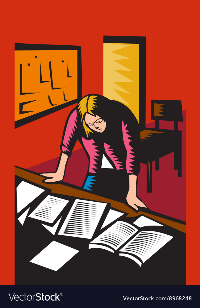 Teacher depressed table classroom woodcut vector