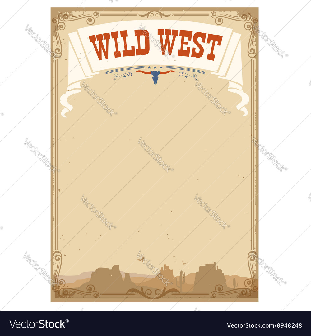 Wild west background for text vector