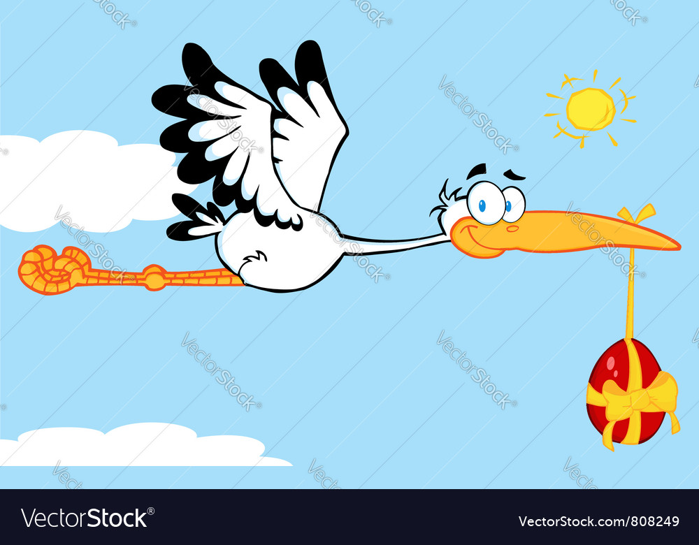Stork flying an easter egg vector