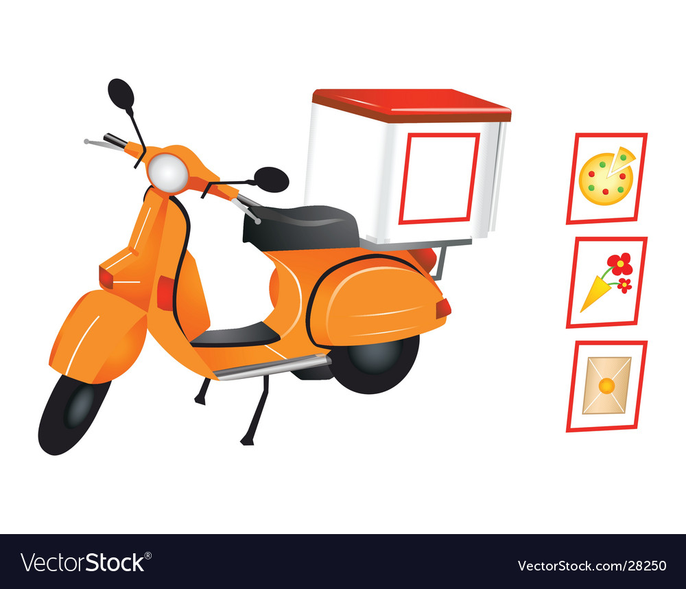 Delivery scooter vector