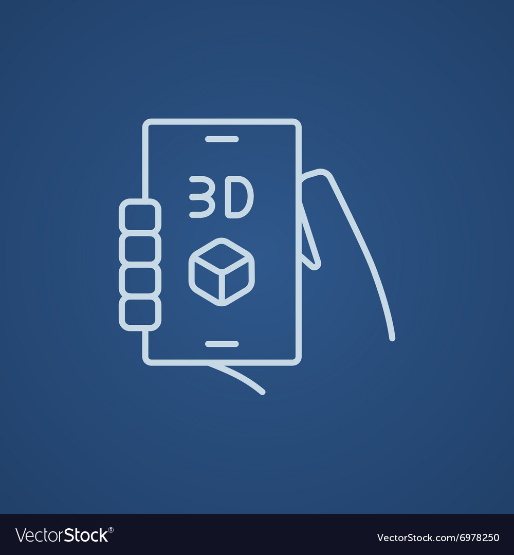 Smartphone with three d box line icon vector