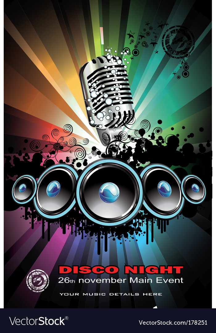 Disco dancing singer night background vector