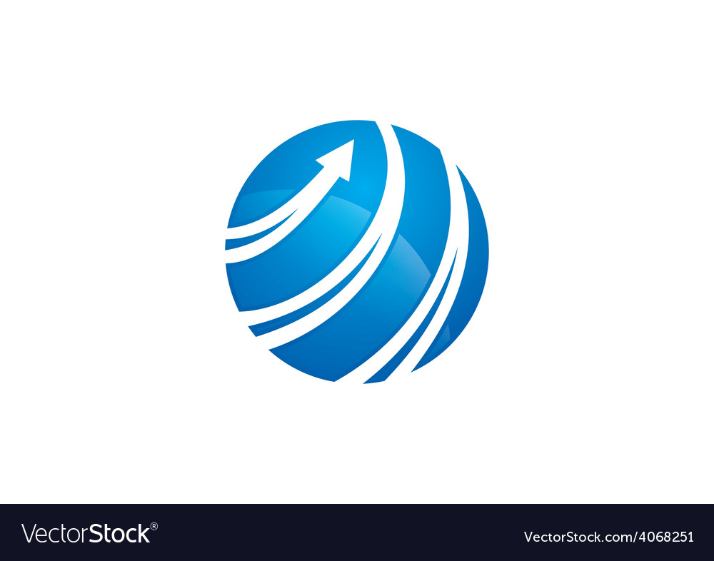 Globe arrow swirl communication logo vector