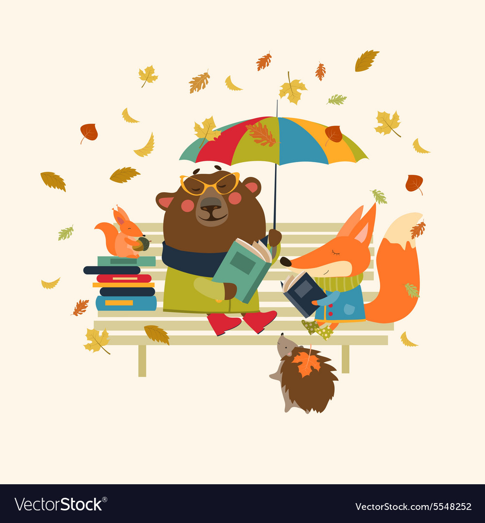 Cute fox and funny bear reading books on bench vector