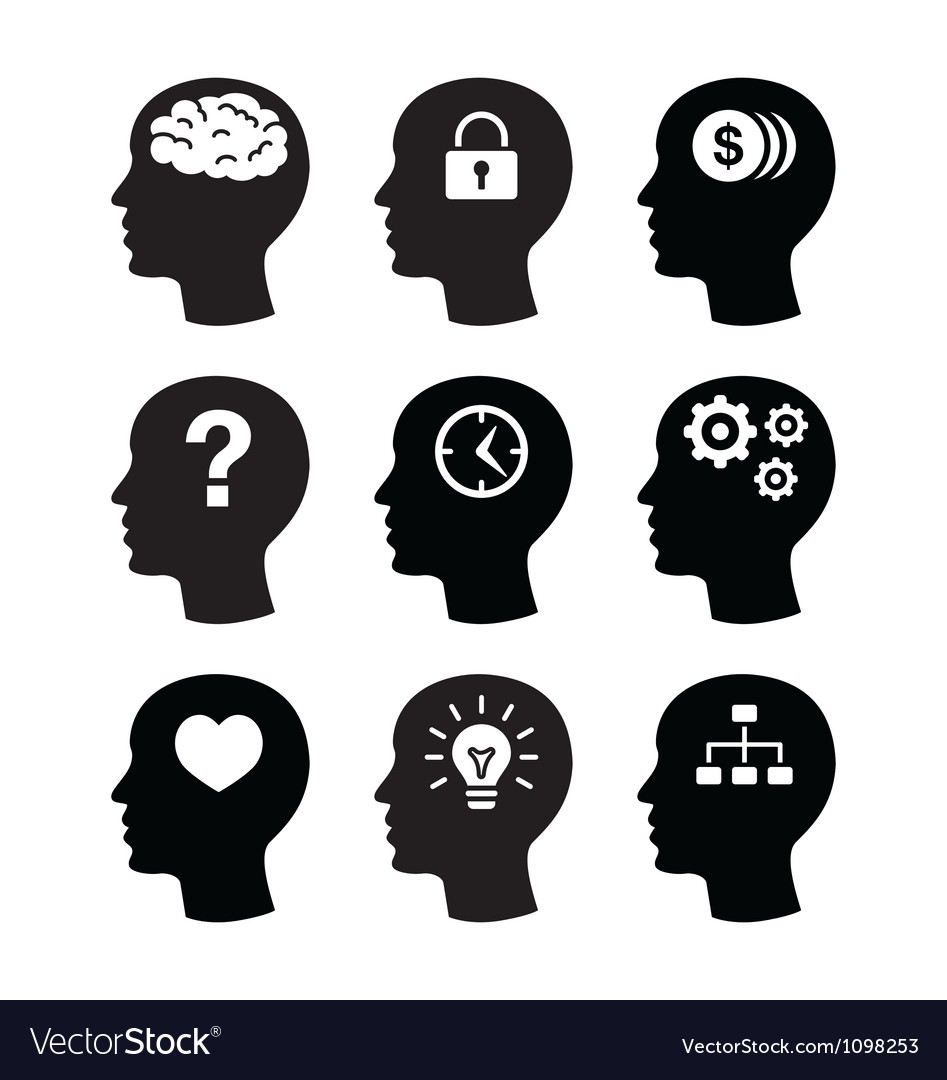 Head brain vecotr icons set vector