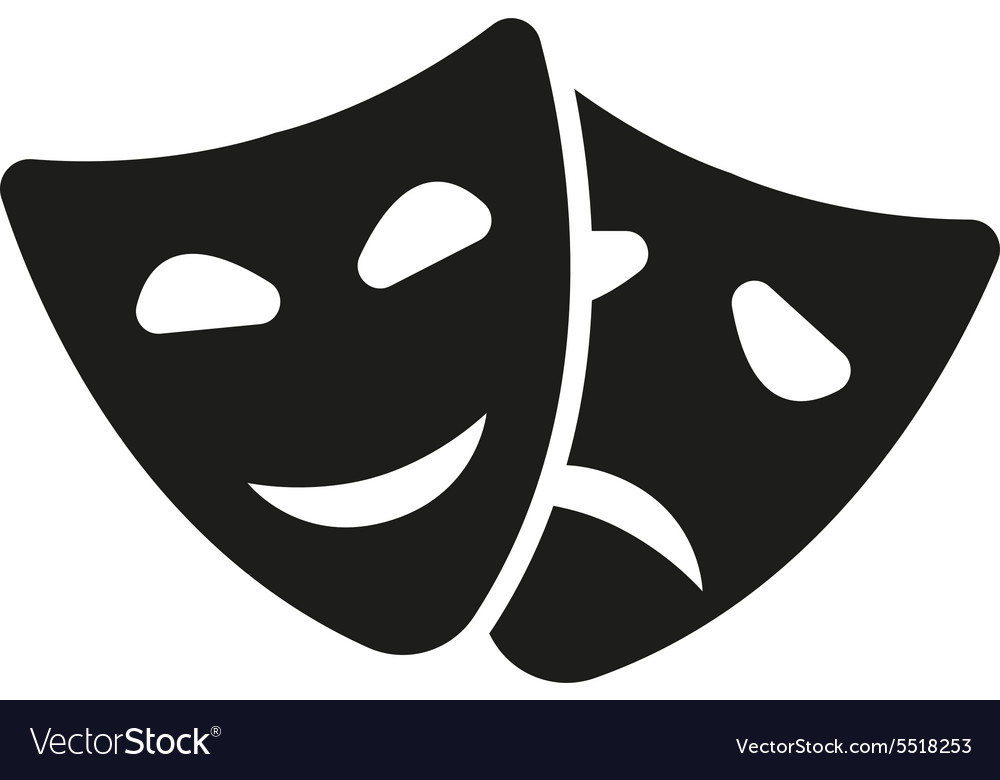Theater and mask icon drama comedy tragedy vector