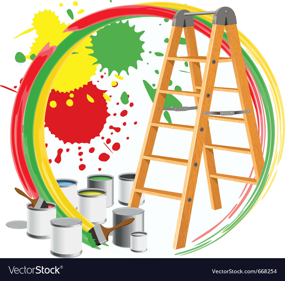Paints and a stepladder vector