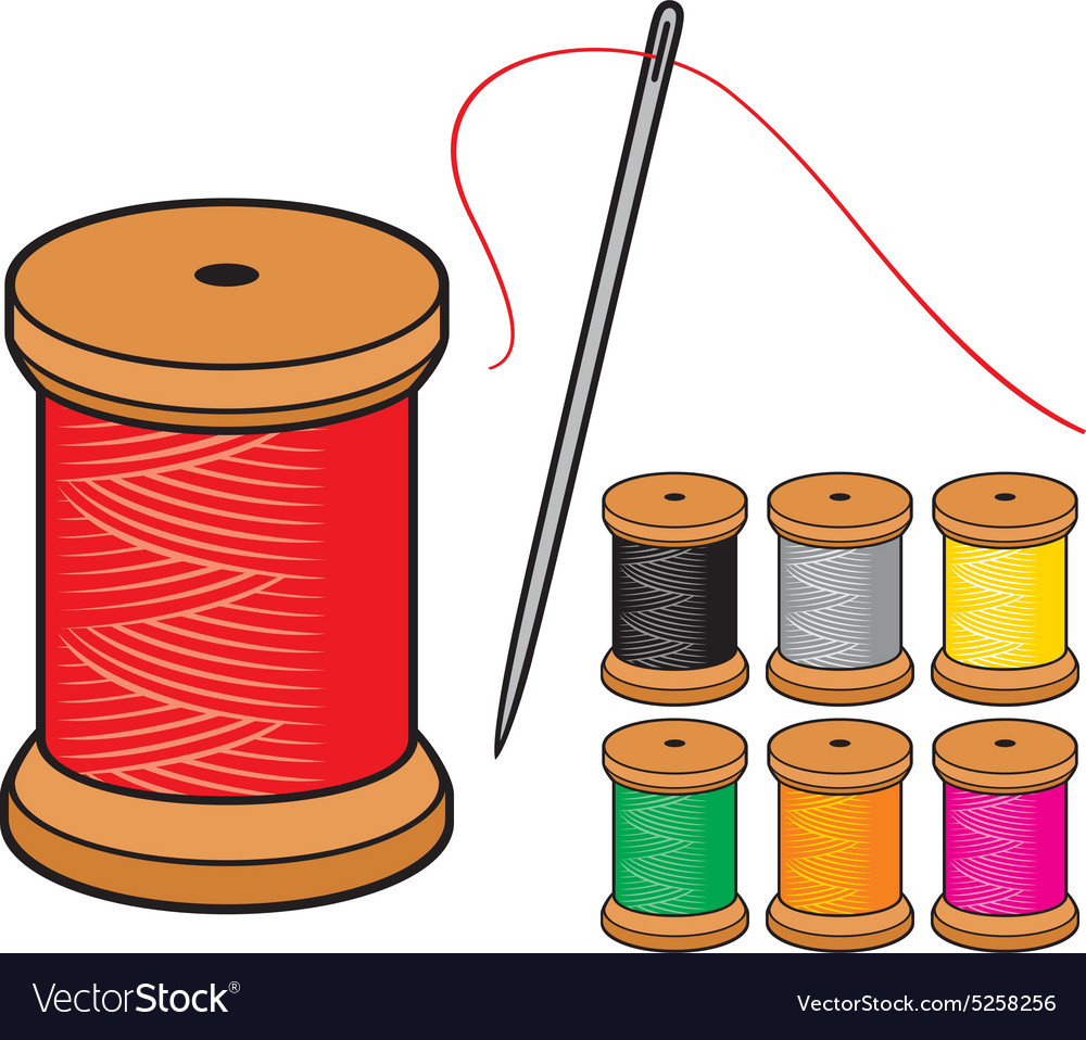 Thread and needles vector