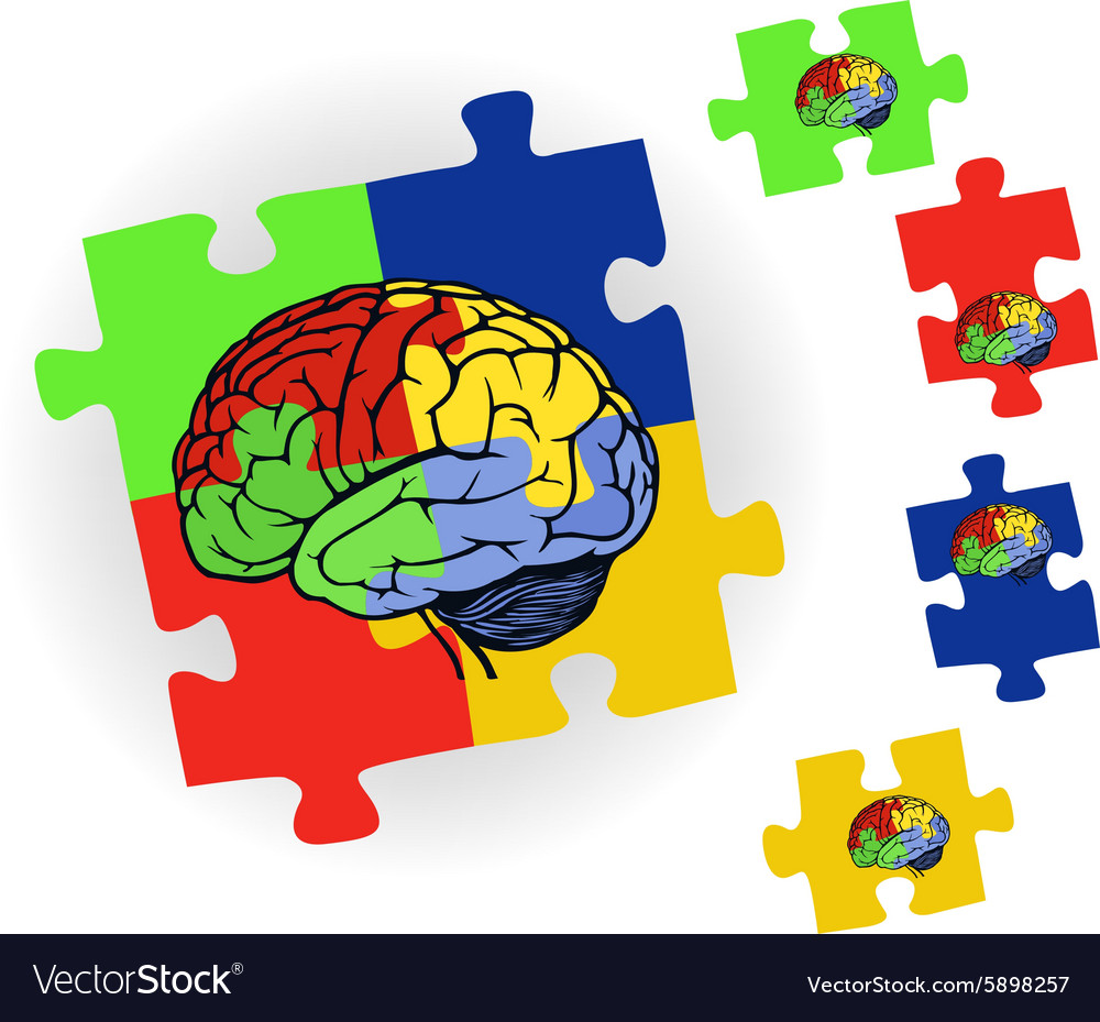 Brain in puzzle for web design vector