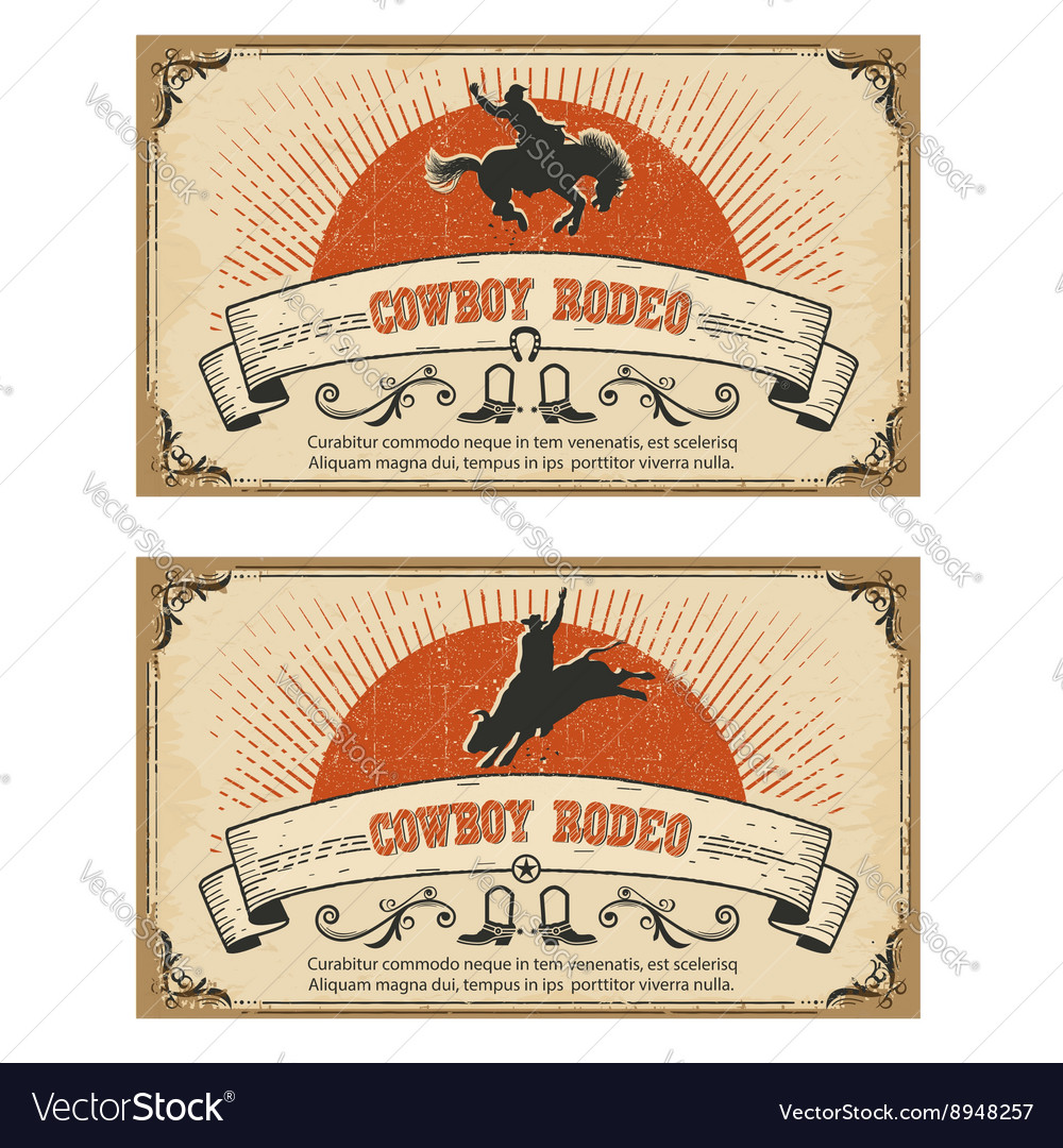 Cowboy wild horse rodeo cards isolated on white vector