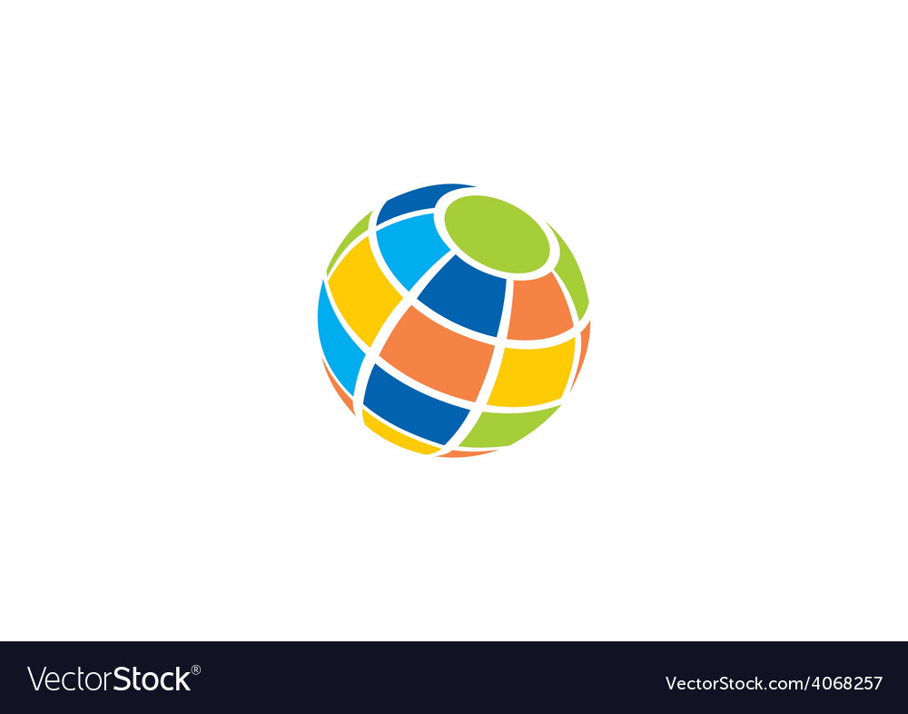 Globe colorful abstract logo vector