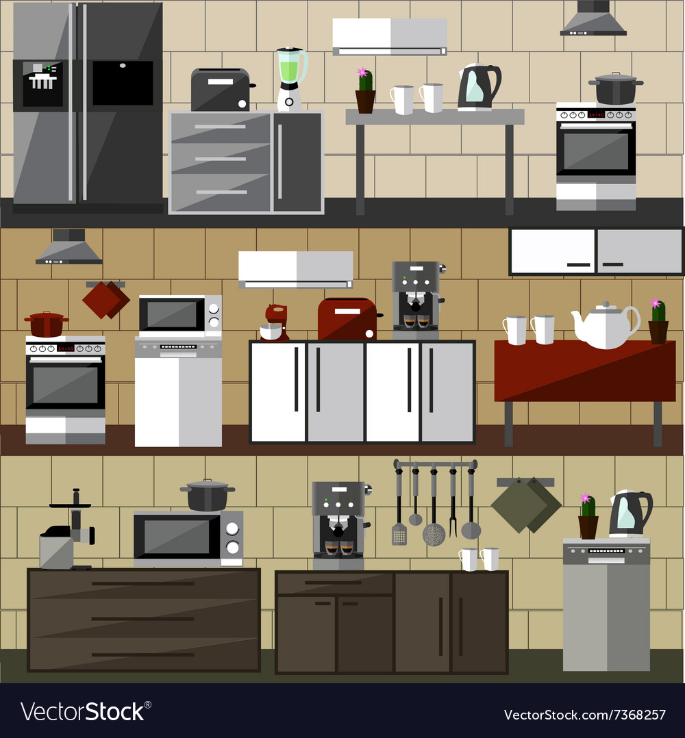 Modern kitchen interior set vector