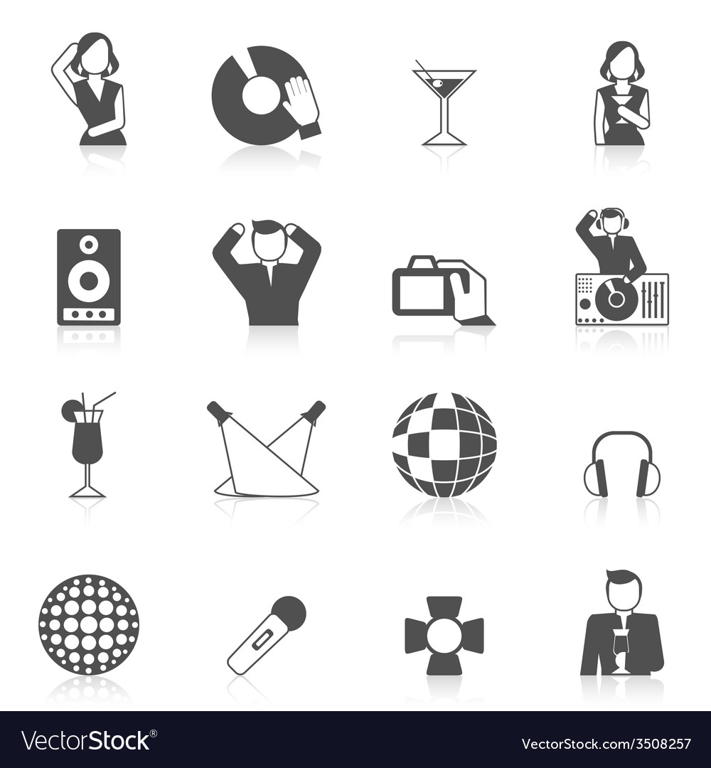 Nightclub icon set vector