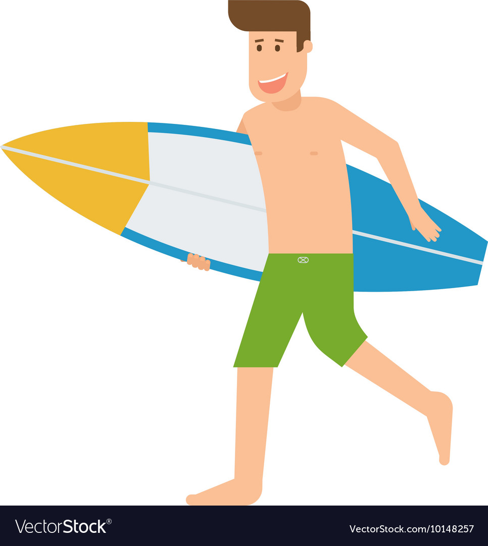 Surfer man running with surfboard vector