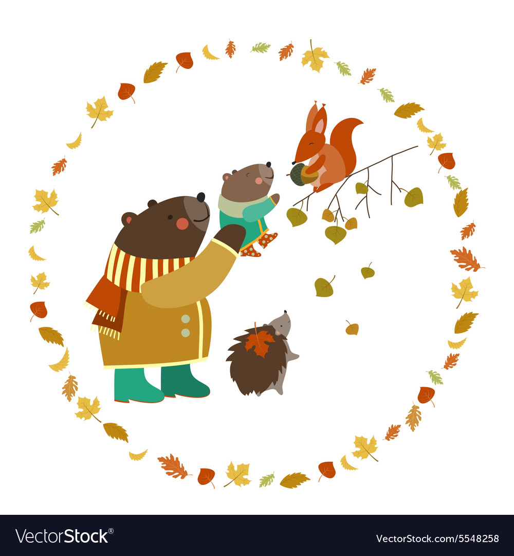 Bear bear cub squirrel and hedgehog walking in vector