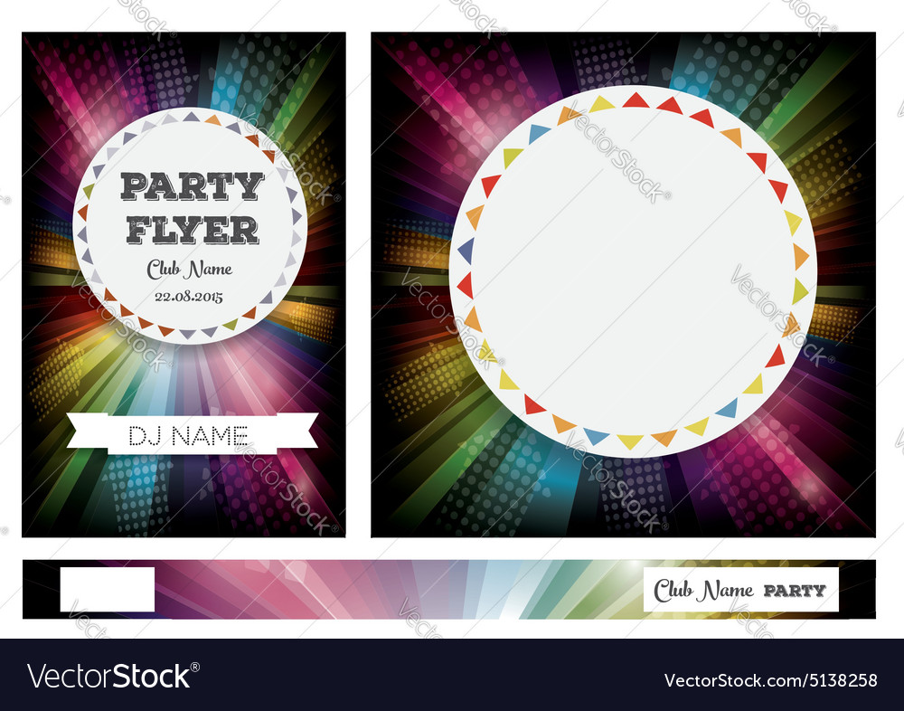 Club flyers with copy space and rainbow vector