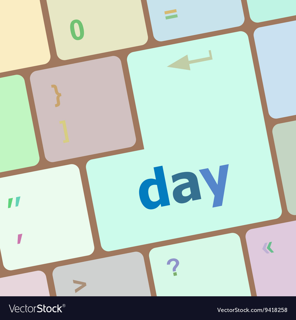 Day button on computer pc keyboard key vector