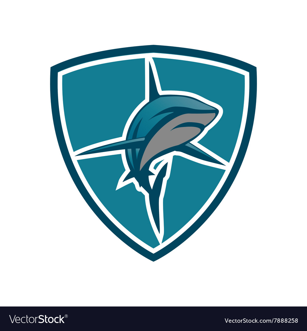 Shark emblem shield vector