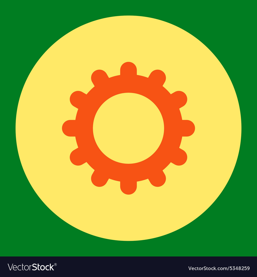 Gear flat orange and yellow colors round button vector