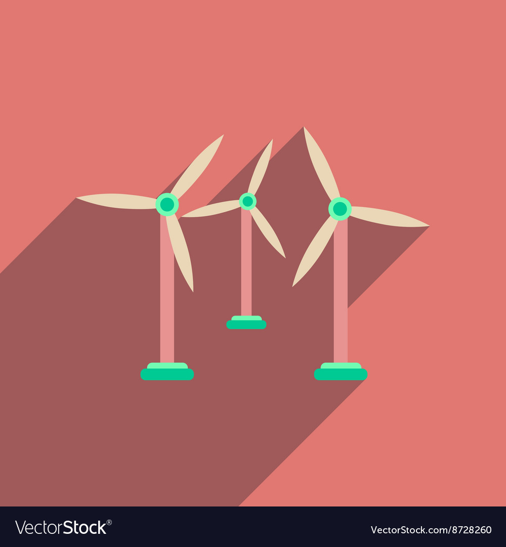 Flat web icon with long shadow wind turbines vector