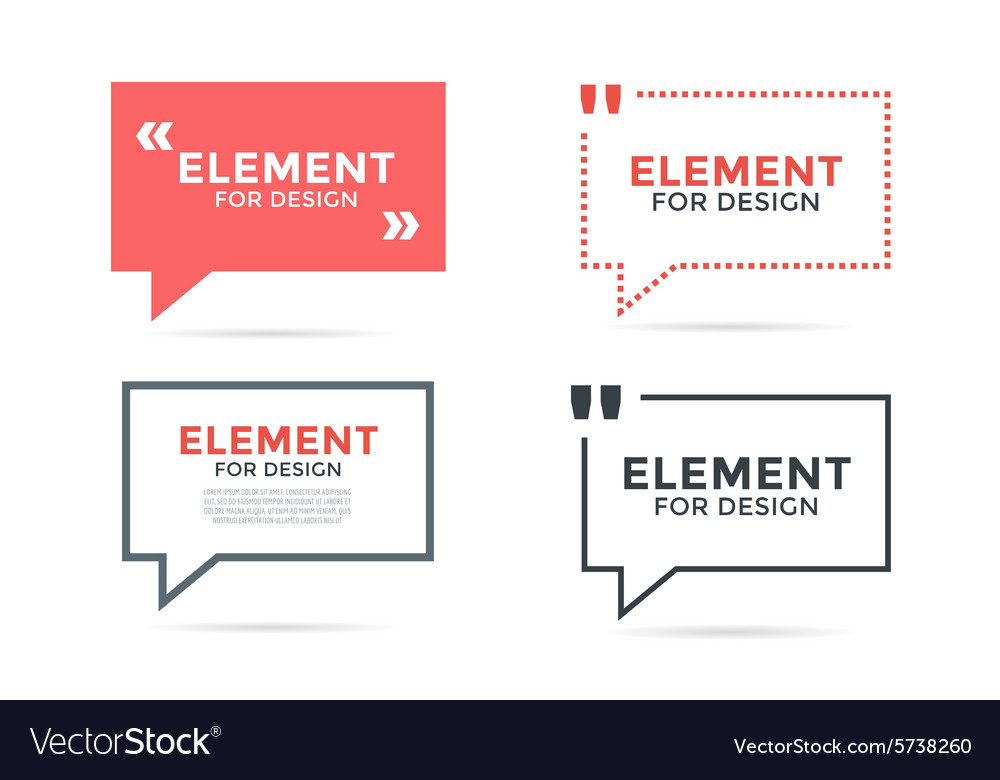 Quote blank template bubble set vector