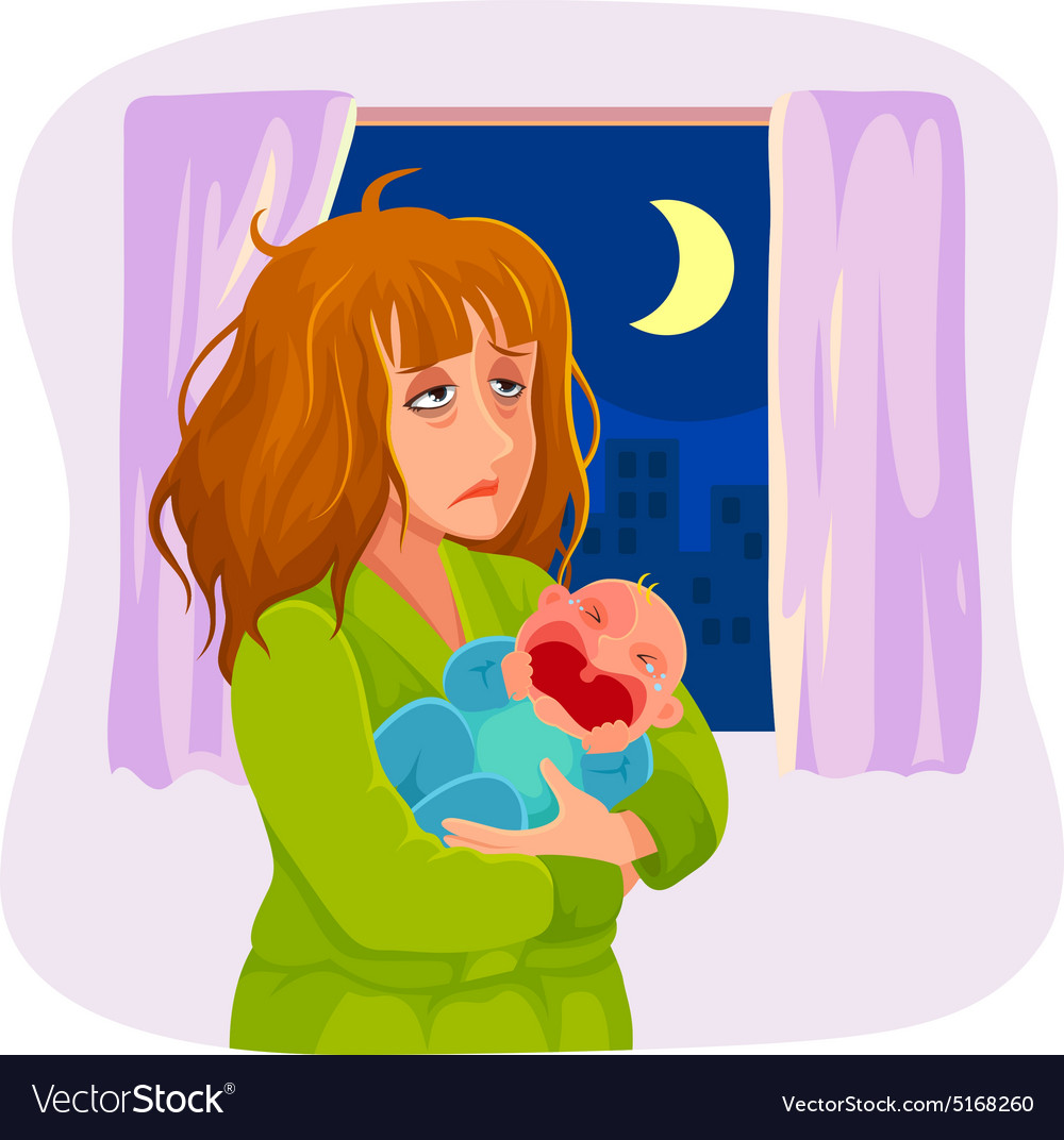 Sleepy mother vector