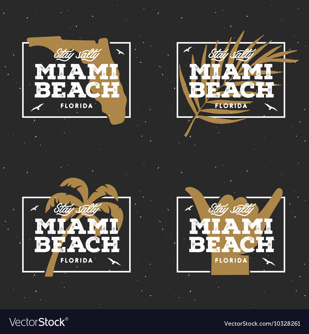 Miami beach florida tshirt design vintage vector