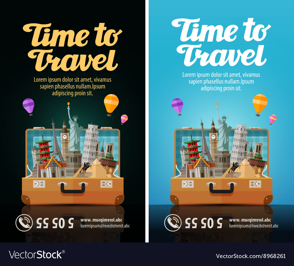 Travel journey trip to world open suitcase with vector