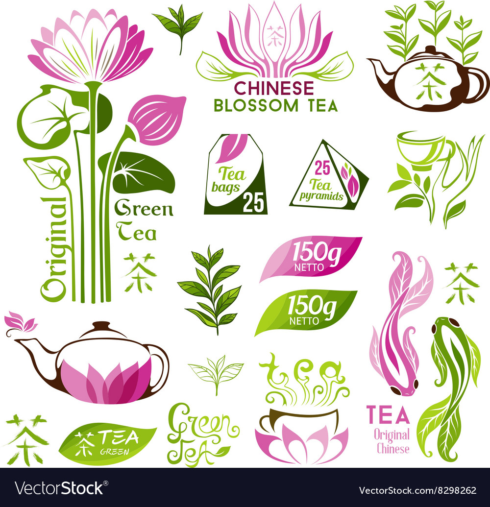 Chinese blossom and green tea emblems vector