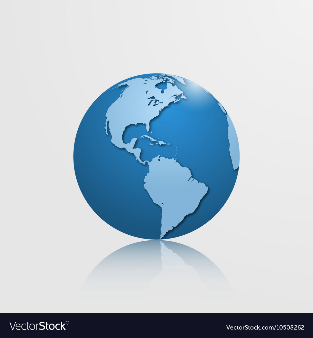 Detailed globe with north and south america vector