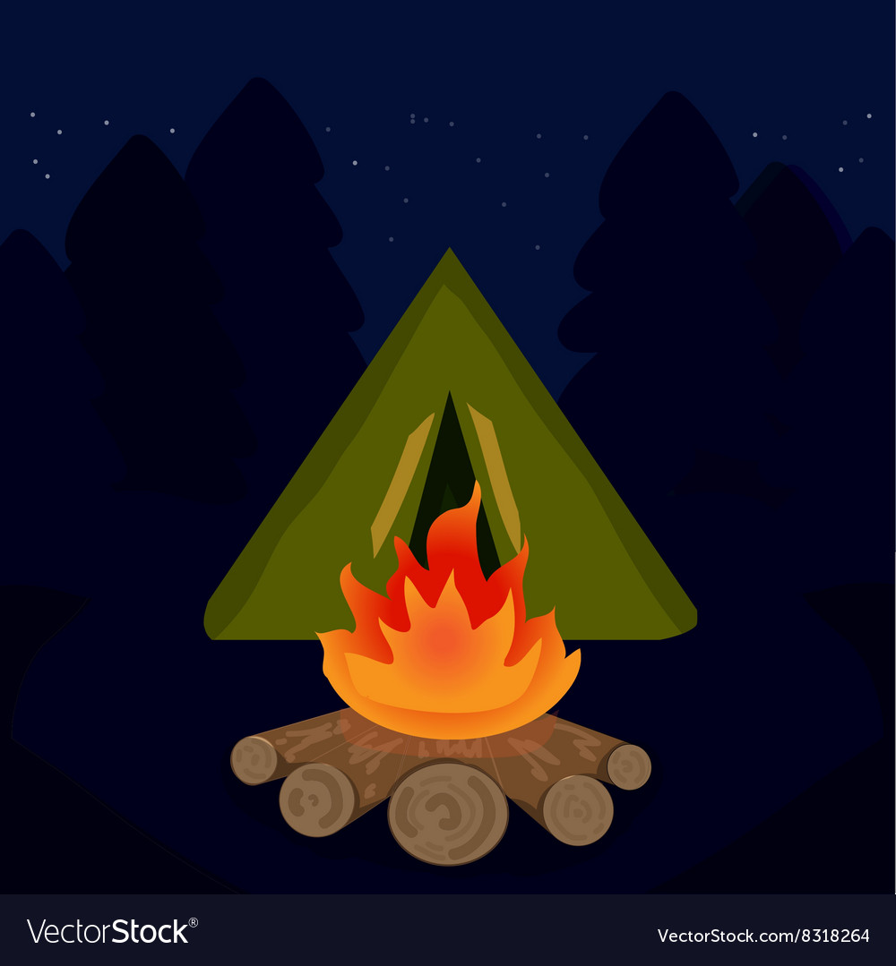 Camp campfire at travel night vector