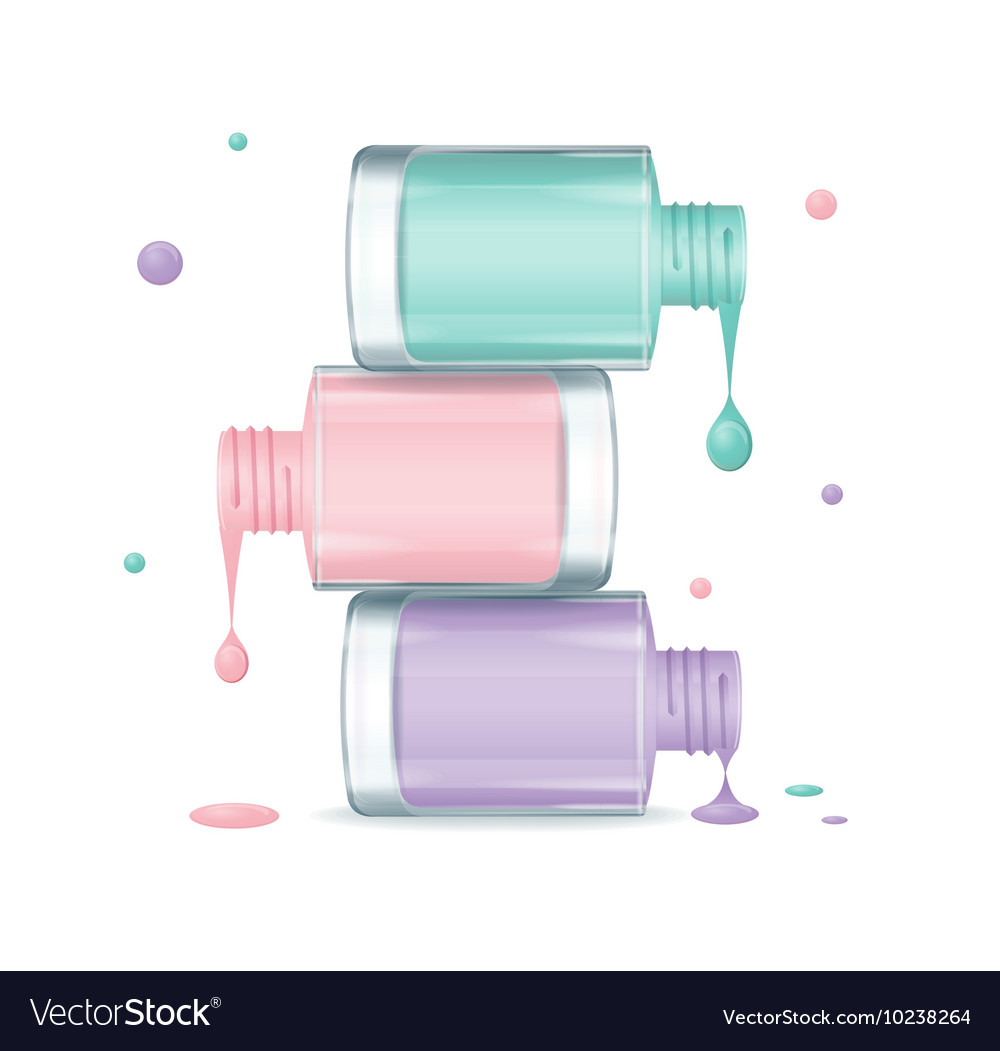 Colorful nail polish set dripping vector