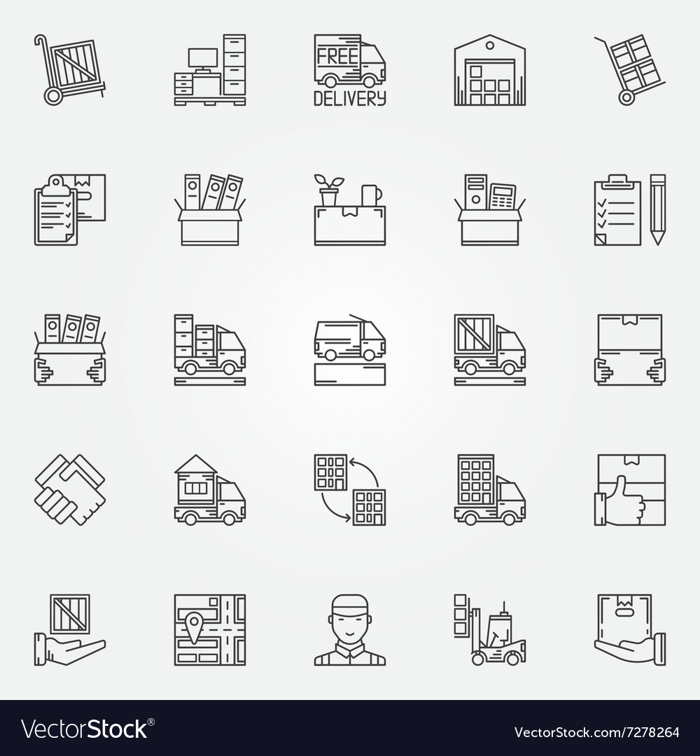 House or office moving icons vector
