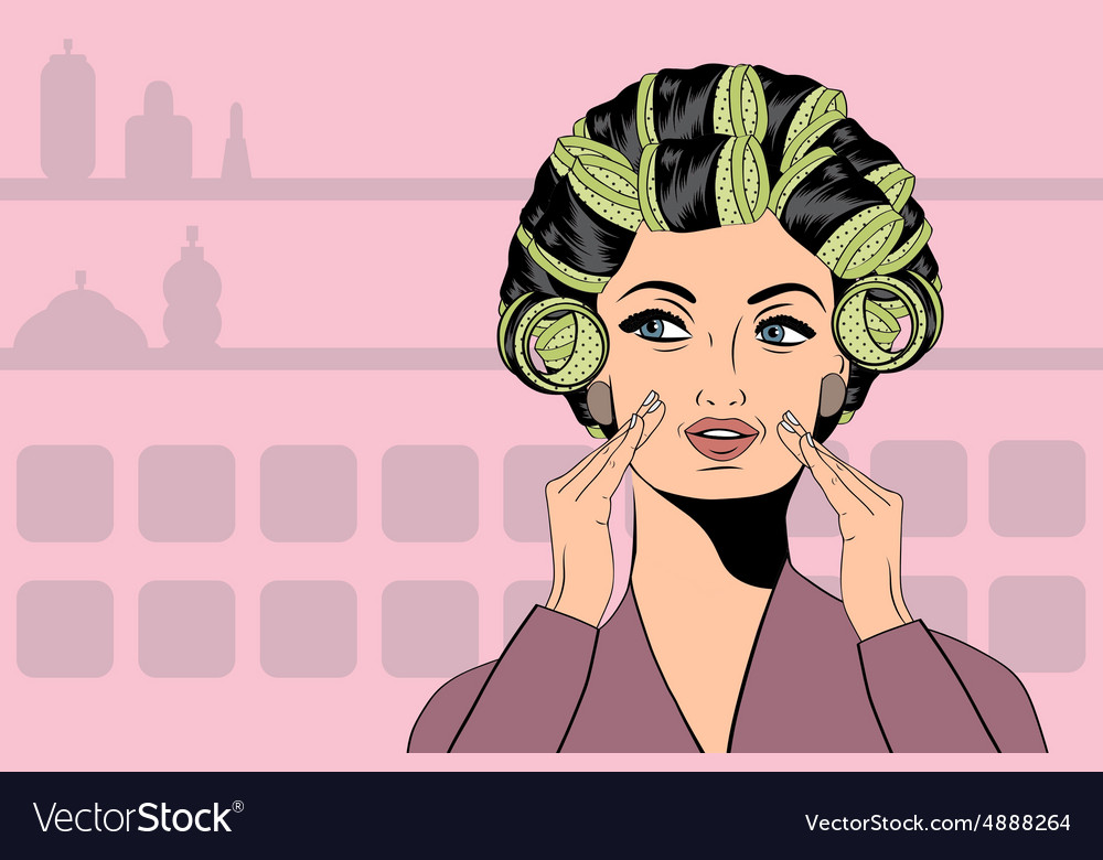 Woman with curlers in their hair vector
