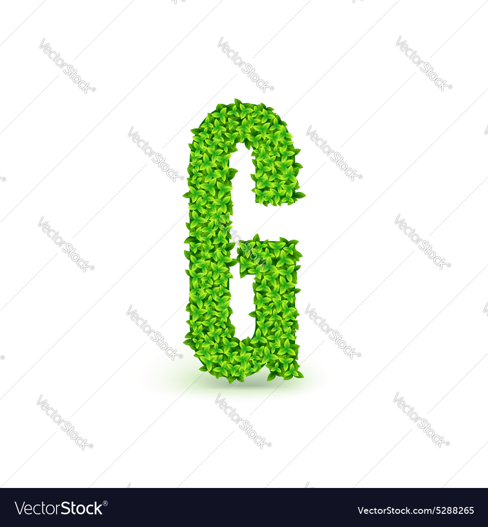 Green leaves font g vector