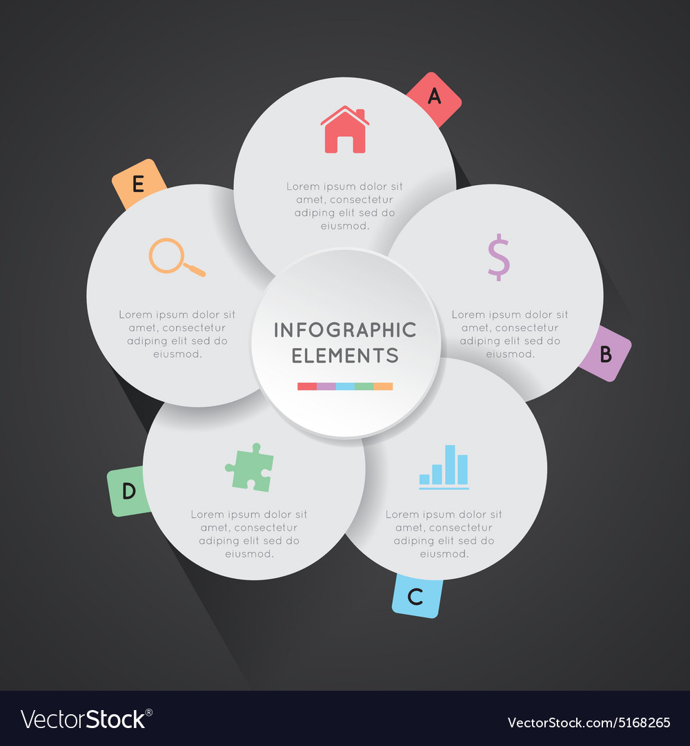 Round infographic petals with 5 elements vector