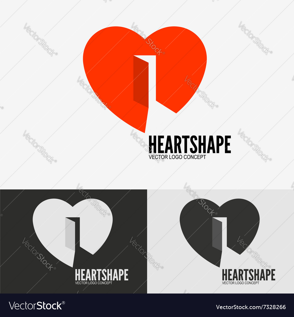 Heart with door vector