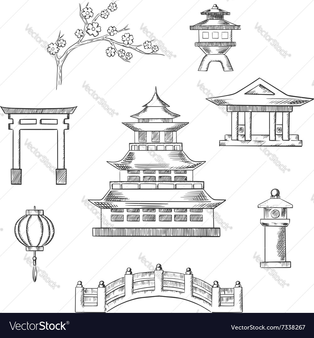 Japan travel icons in sketch style vector