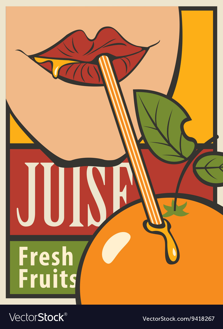 Orange of fresh juice vector