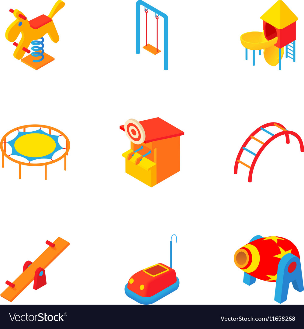Children entertainment icons set cartoon style vector