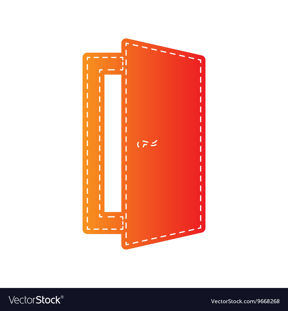 Door sign orange applique isolated vector