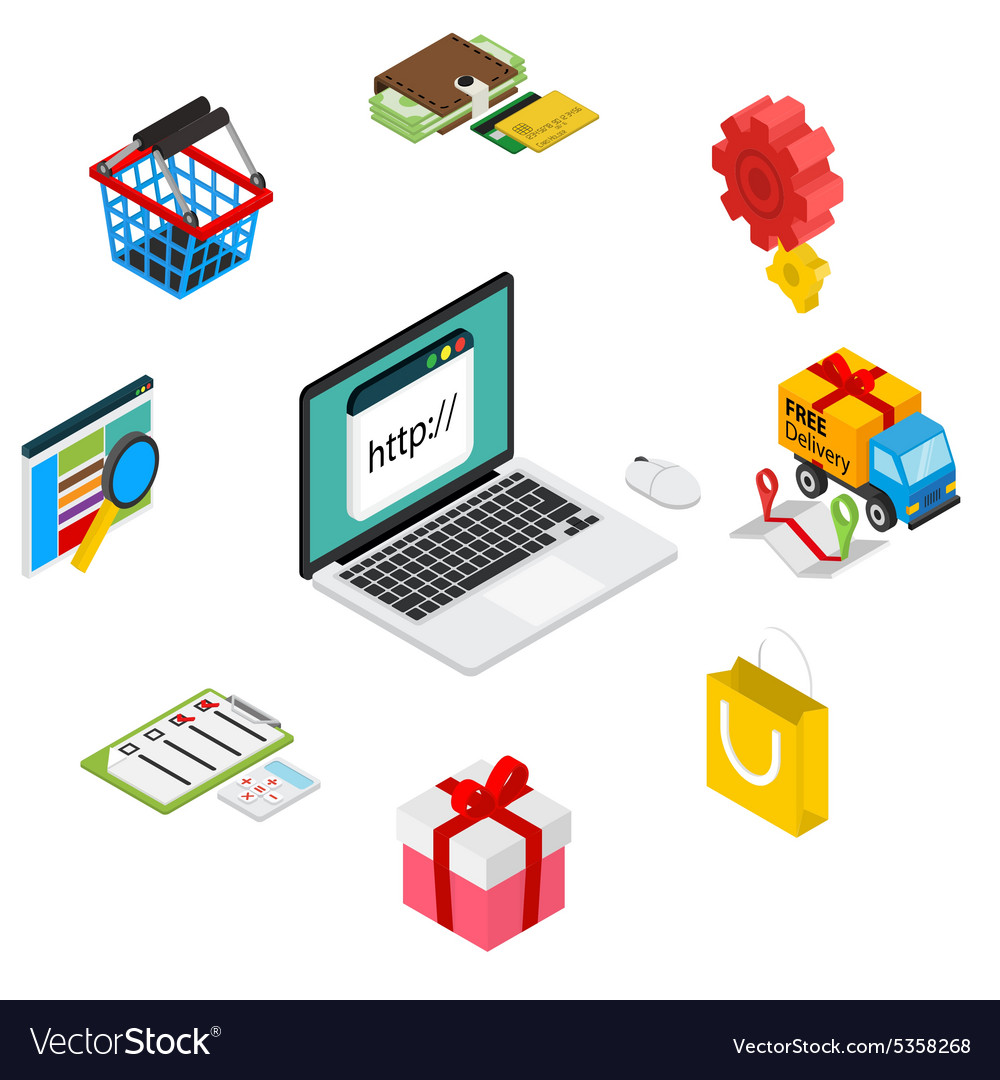 Isometric of online shopping with vector