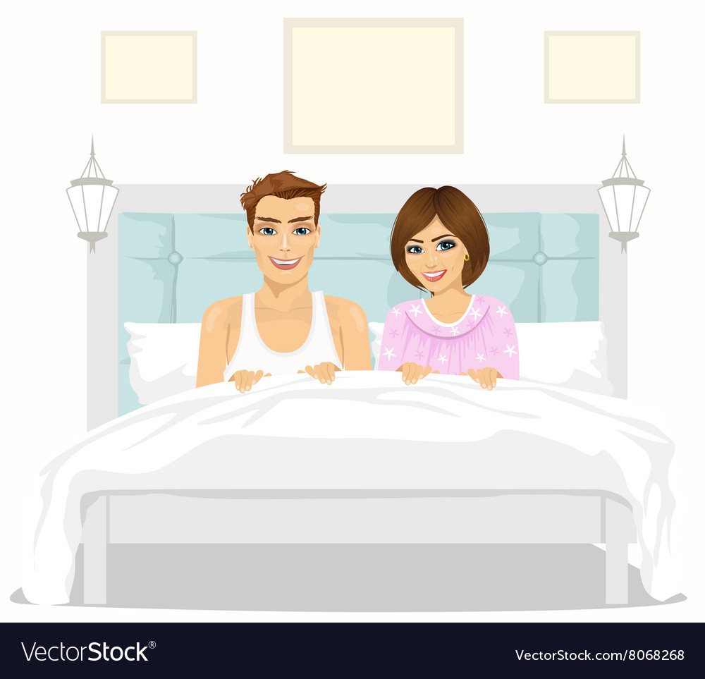 Lovely couple in love sitting together in bed vector