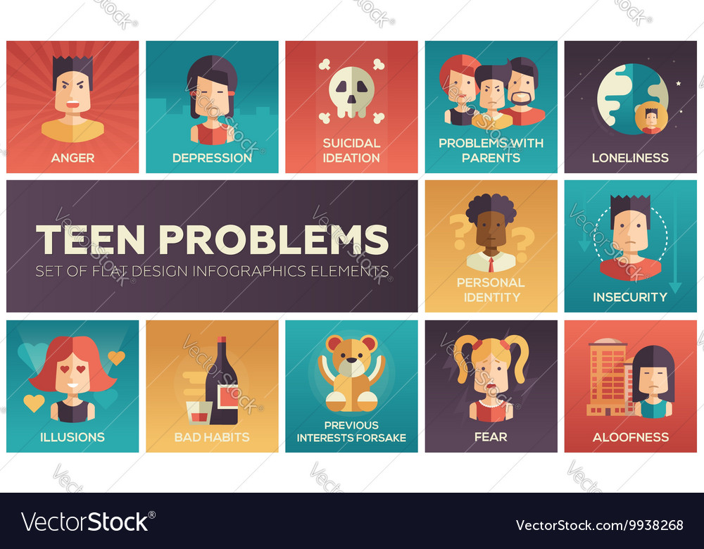 Teen problems flat design icons set vector